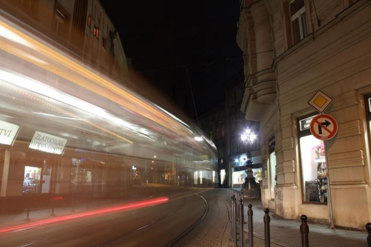 tram at night