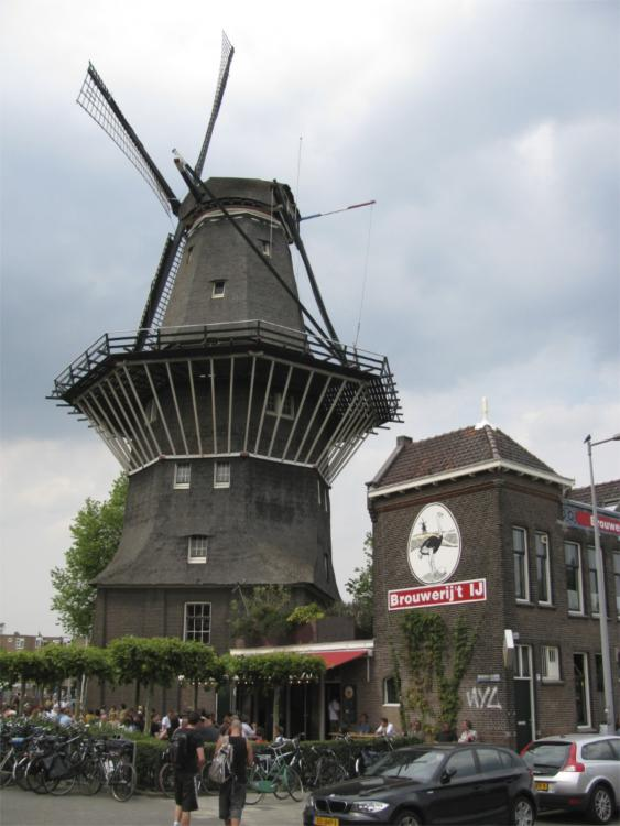 Amsterdam-One of the only remaining windmills in Amsterdam: now a brewery