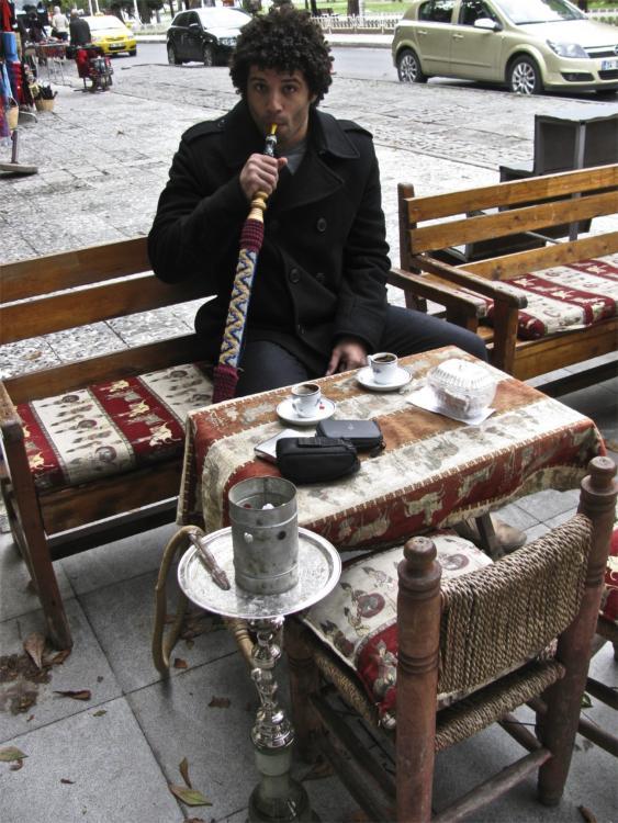 Istanbul- Smoking some nargile.