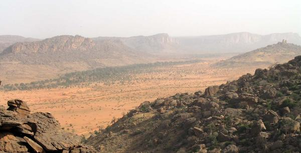 The Dogon Valley seen from the top of the hill on our morning hike