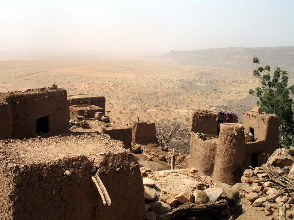 It is a harsh life on the clifftop high above the Dogon plain