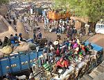 Market day in Djenne, as locals pile aboard trucks for the ride home